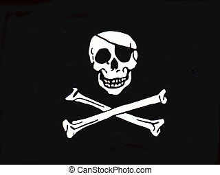 Pirate Flag - a pirate flag over black, no pole, skull and...