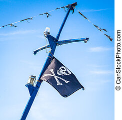 Pirate flag on the ship