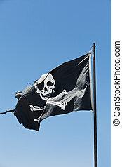 Pirate Flag towards blue sky