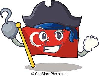 Pirate flag turkey character on shaped cartoon