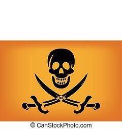 Pirate Flag - illustraion of pirate flag with black skull...