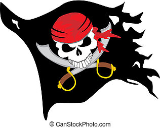 vector image of swords with a pirate skull on a black ragged flag