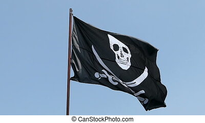 Pirate flag waving in slow motion - Slow motion. Pirate flag...