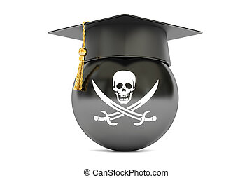 pirate flag with a graduation cap, 3D rendering
