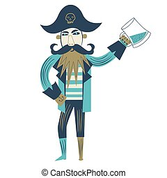 Pirate flat color illustration on white