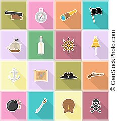 pirate flat icons vector illustration