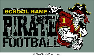 pirate football - distressed pirate football team design for...