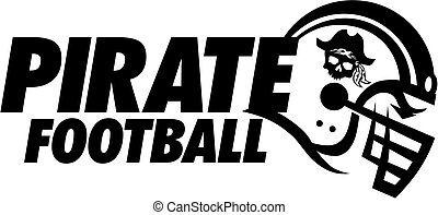 pirate football team design with helmet and skull