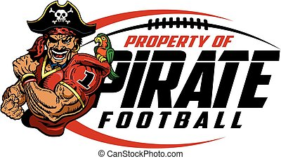 pirate football team design with laces and mascot for...