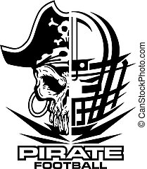 pirate football team design with mascot and facemask for...
