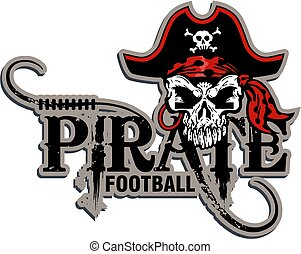 pirate football team design with mascot skull for school,...