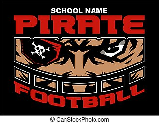 pirate football team design with mascot wearing facemask for...