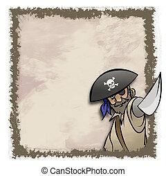 Pirate Frame - A cartoon pirate in an artistic frame. Maybe...