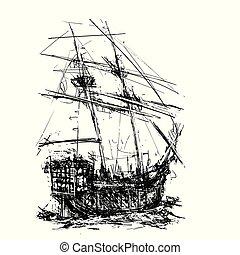Pirate Galleon at Sea - Sketchy style sailing pirate ship at...