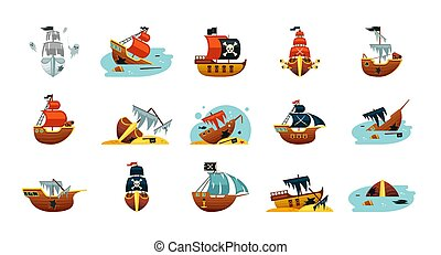 Pirate game ships set. Sunken play spanish sailboat with gold exploded wreckage dreadnought corsair schooners ragged sails with cannons new frigates flag of skull and crossed sabers. Vector cartoon.