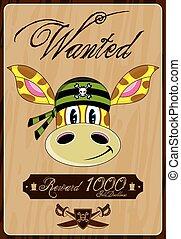 Pirate Giraffe Wanted Poster