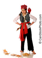 Pirate Girl - A scrutinizing pirate girl with a parrot on...