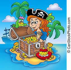 Pirate girl and treasure - color illustration.