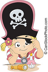 Pirate Girl Birthday - Illustration of a Girl celebrating ...