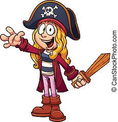 Pirate girl - Cartoon pirate girl. Vector clip art...