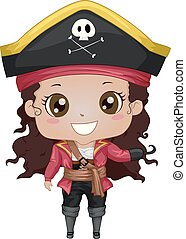 pirate, girl, illustration, américain, gosse, africaine