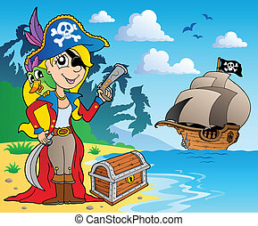 Pirate girl on coast 2 - vector illustration.