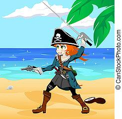 pirate girl on the beach