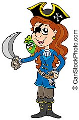 Pirate girl with parrot and sabre - isolated illustration.