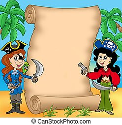 Pirate girls with scroll 1 - color illustration.