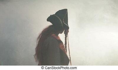 Pirate goes to the fog. - The pirate goes to the fog.