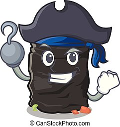 Pirate grabage bag isolated with the mascot vector illustration