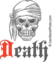 Pirate grin skull sketch with bandanna - Pirate skull with...