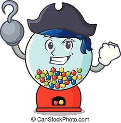 Pirate gumball machine character cartoon vector illustration