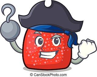 Pirate gumdrop character cartoon style vector illustration