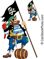 Pirate - Happy pirate with all his accessories. On the ...