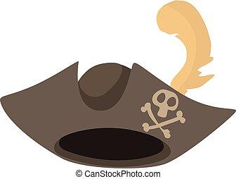 Pirate hat icon, cartoon style