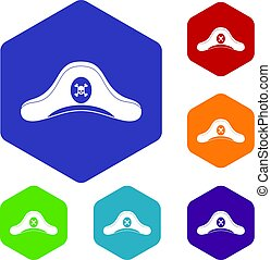 Pirate hat icons set hexagon