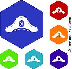 Pirate hat icons set hexagon