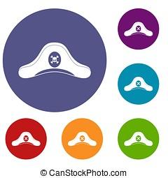 Pirate hat icons set