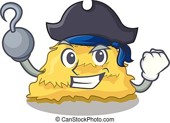 Pirate hay bale character cartoon vector illustration