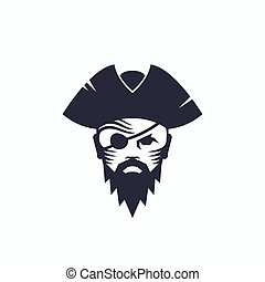 Pirate Head Abstract Vector Logo Template. Sailor Face with...