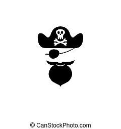 Pirate head symbols with skull and crossed bones