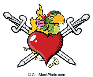 Pirate Heart with Sword and Parrot