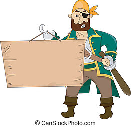 Pirate holding a Blank Board