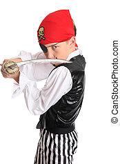 Pirate holding a cutlass sword - Pirate with a cutlass sword...