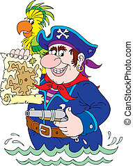 Pirate holding a pistol and map of an island, parrot sits on...