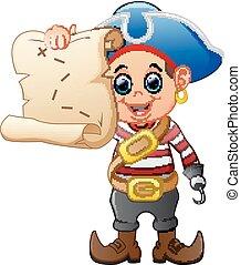 Pirate holding treasure map
