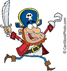 Pirate Holding Up A Sword And Hook