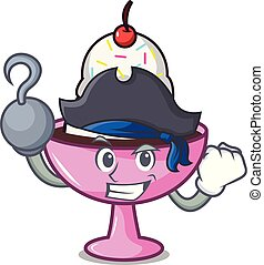 Pirate ice cream sundae character cartoon vector...