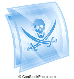 Pirate icon blue, isolated on white background.